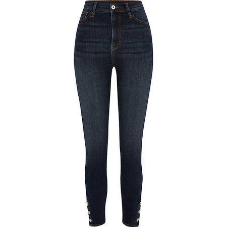 Dark blue Hailey high rise skinny jeans | River Island