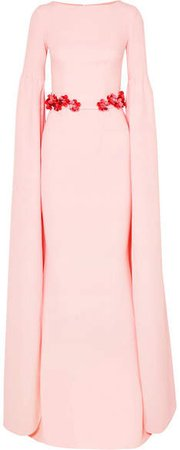 Safiyaa Belted Stretch-crepe Gown - Pastel pink