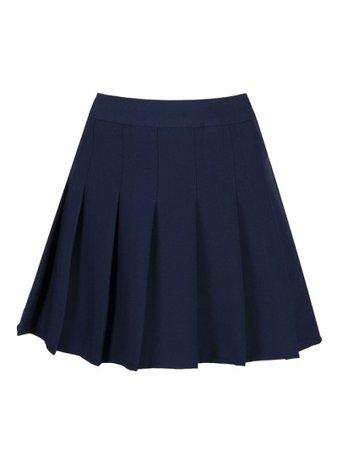 Dark Blue Pleated Mini Skirt