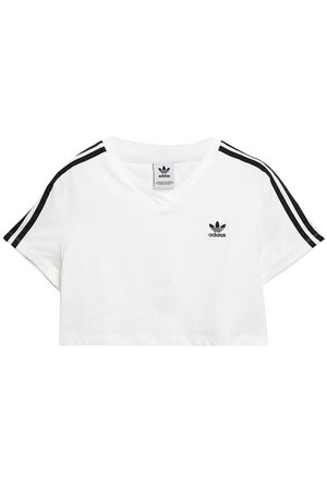 White Cropped embroidered stretch-jersey T-shirt   Sale up to 70% off   THE OUTNET   ADIDAS ORIGINALS   THE OUTNET