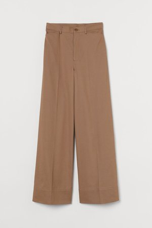 Wide-leg Twill Pants - brown - Ladies | H&M US