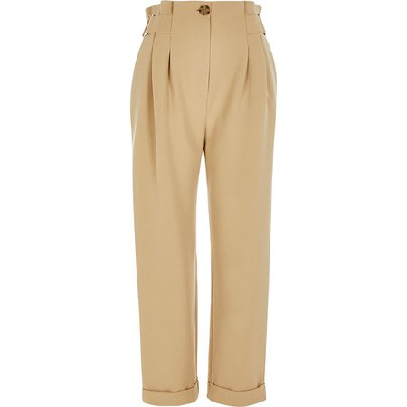 Beige buckle side tapered peg trousers | River Island