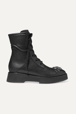 Hadley Crystal-embellished Leather Ankle Boots - Black