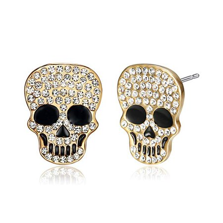 Amazon.com: Lee Island Fashion 18K Gold Plated White Crystal Skull Earrings for Women: Jewelry