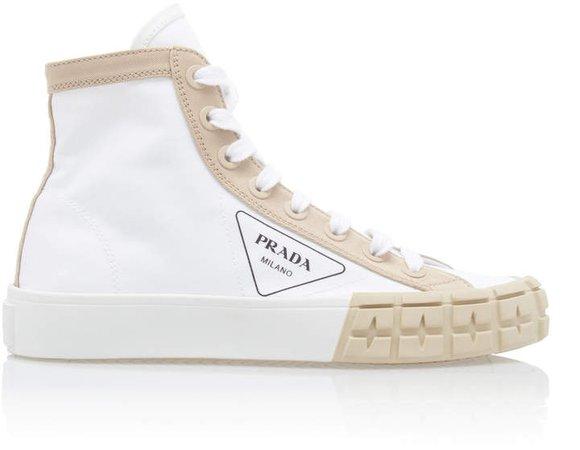Colorblocked Gabardine High Top Sneakers