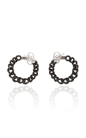 Black Strada Chain And Diamond Coil Earrings by Yeprem | Moda Operandi