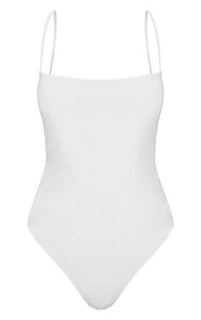 White Slinky Square Neck Spaghetti Strap Bodysuit   PrettyLittleThing