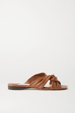 Narisa Knotted Leather Sandals - Tan