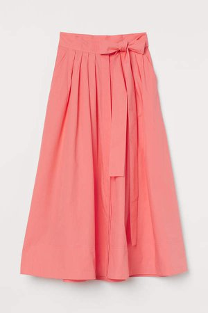 Flared Cotton Skirt - Red