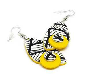 black and white and yellow necklace and earrings - Google Search