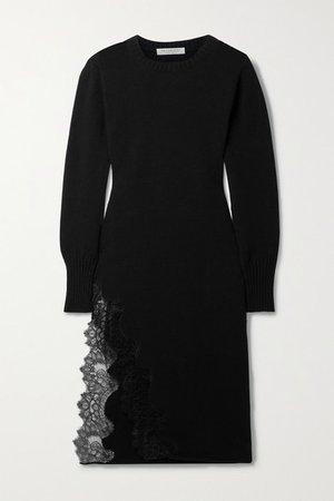 Lace-trimmed Cotton-blend Midi Dress - Black