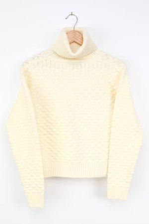 Ivory Sweater - Turtleneck Sweater - Dot Knit Sweater - Lulus