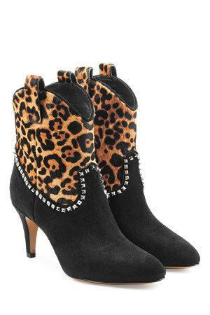 Embellished Suede Ankle Boots with Printed Pony Hair Gr. IT 40