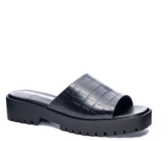 Respect Croc Embossed Slide Sandal