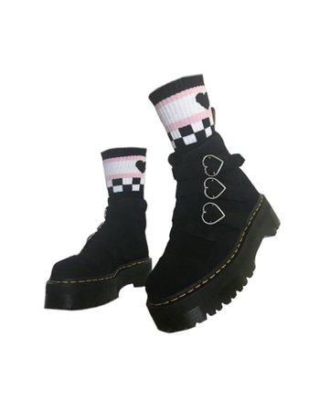 Black heart shaped buckle combat boots w/ socks