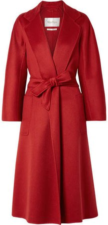 Labro Belted Cashmere-felt Coat - Red
