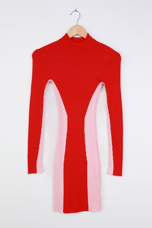 Red and Pink Dress - Bodycon Mini Dress - Color Block Dress - Lulus