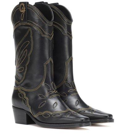 High Texas Leather Cowboy Boots | Ganni - Mytheresa