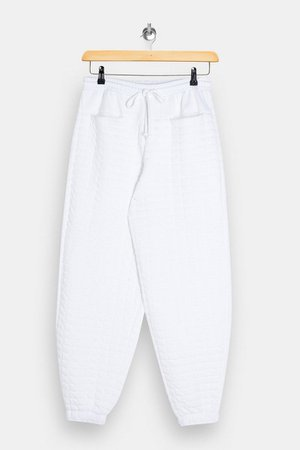 White Quilted Joggers | Topshop