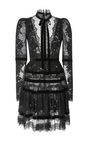 Velvet Long Sleeve Dress by Elie Saab