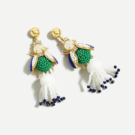 J.Crew: Buzz Buzz Beaded Tassel Earrings For Women