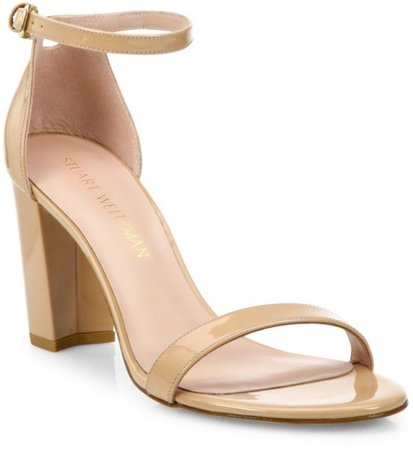 Nearlynude Block-Heel Patent Leather Sandals