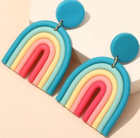 blue rainbow earrings