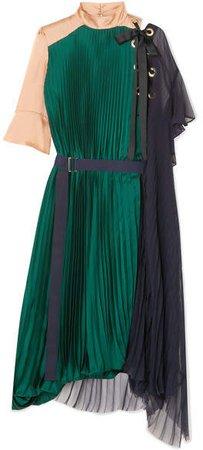 Draped Pleated Satin And Chiffon Midi Dress - Green