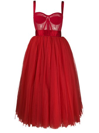 Dolce & Gabbana Bustier Tulle Midi Dress - Farfetch