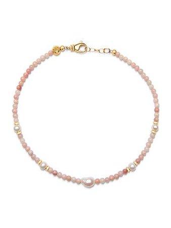 Women's Beaded Choker with Pink Opal and Baroque White Pearl – Nialaya Jewelry