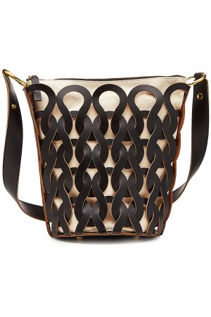 Tricot Fabric Bag with Leather Gr. One Size