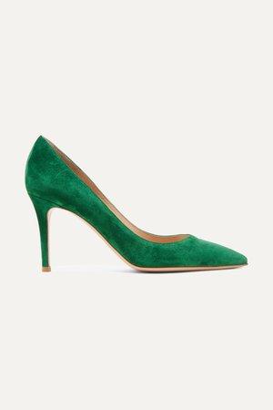 Green 85 suede pumps | Gianvito Rossi | NET-A-PORTER
