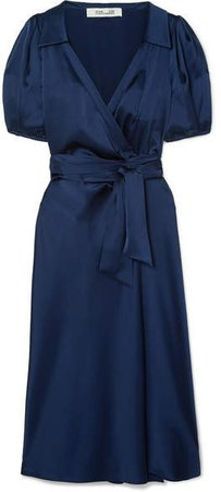 Valentina Satin Wrap Dress - Navy