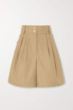 Button-detailed Cotton-twill Shorts - Beige