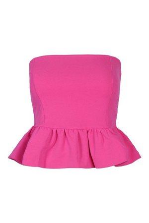 Crepe Bandeau Peplum Top | boohoo pink