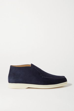 Open Walk Suede Loafers - Navy