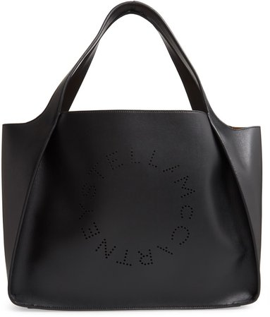 Perforated Logo Faux Leather Tote