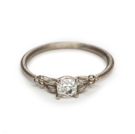 Old cut solitiare diamond engagement ring in white gold —Ruth Tomlinson