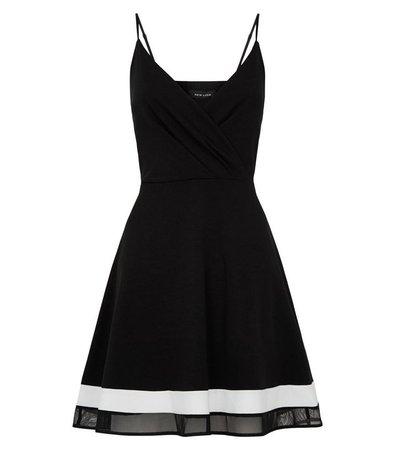 Black Stripe Mesh Trim Dip Hem Dress | New Look