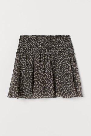 Smocked-waist Skirt - Black