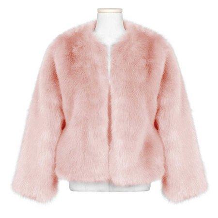 Women Faux Fur Coat 2018 Winter Warm Hairy Fur Jackets Outwear Elegant Ladies Pink Fluffy Coats