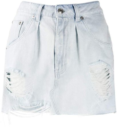denim distressed mini skirt
