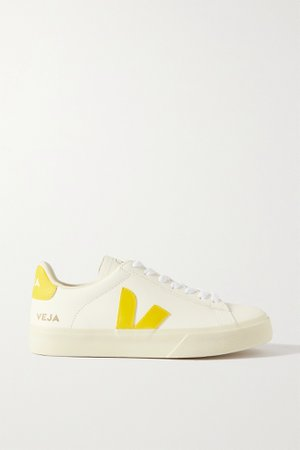 White + NET SUSTAIN Campo suede-trimmed leather sneakers   VEJA   NET-A-PORTER