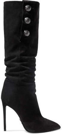 Jane Button-embellished Suede Knee Boots - Black