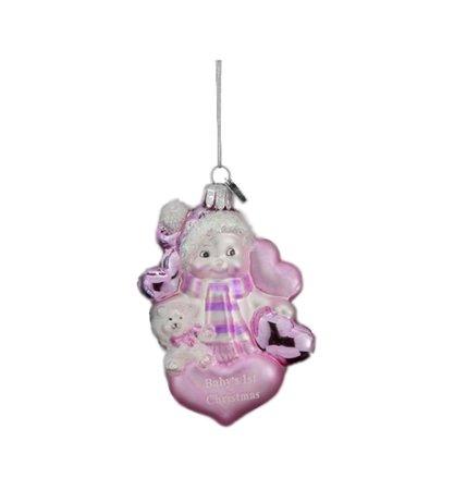"3.5"" Pink and White ""Baby's 1st Christmas"" Snowman Hand Blown Glass Ornament - Walmart.com - Walmart.com"