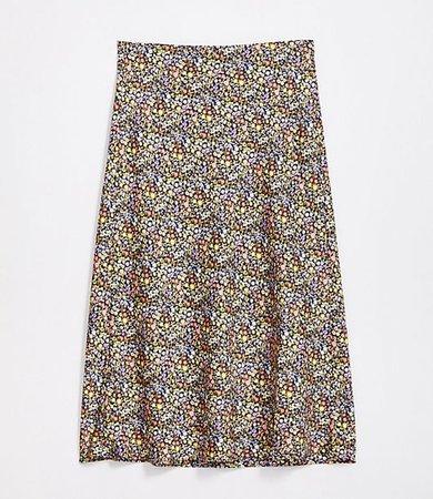 Petite Floral Pull On Midi Skirt