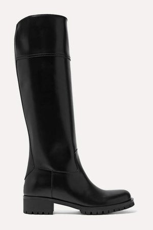 40 Leather Knee Boots - Black