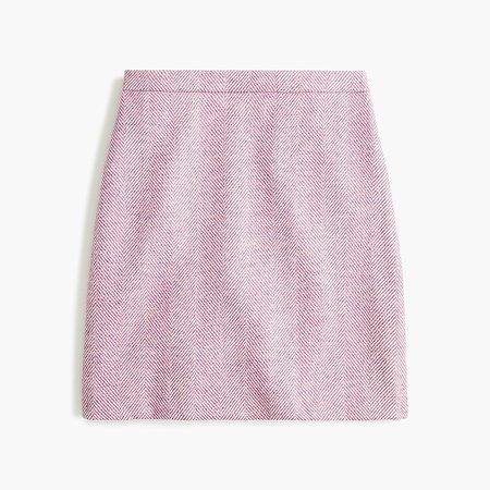 J.Crew: Wool Mini Skirt In Herringbone pink