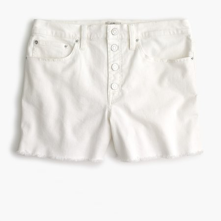 J.Crew: High-rise Denim Short In White With Button Fly For Women
