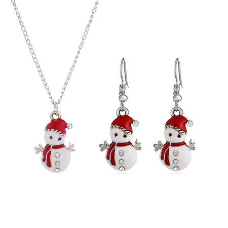 2019 Wholesale Christmas Earring Necklace Set Silver Chain Plated Creative Cute Christma Snowman Shape Earring Necklace Set Fashion Jewelry From Bstwayjewelry, $1.51 | DHgate.Com
